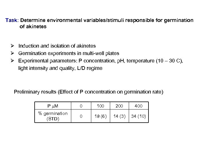 Task: Determine environmental variables/stimuli responsible for germination of akinetes Ø Induction and isolation of