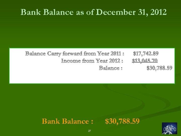 Bank Balance as of December 31, 2012 Bank Balance : 27 $30, 788. 59
