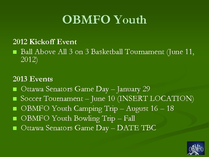 OBMFO Youth 2012 Kickoff Event n Ball Above All 3 on 3 Basketball Tournament