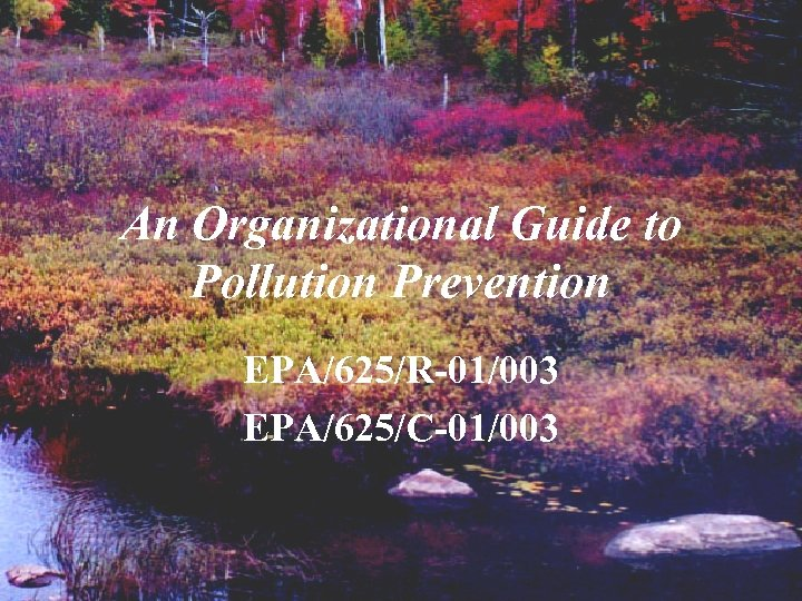 An Organizational Guide to Pollution Prevention EPA/625/R-01/003 EPA/625/C-01/003