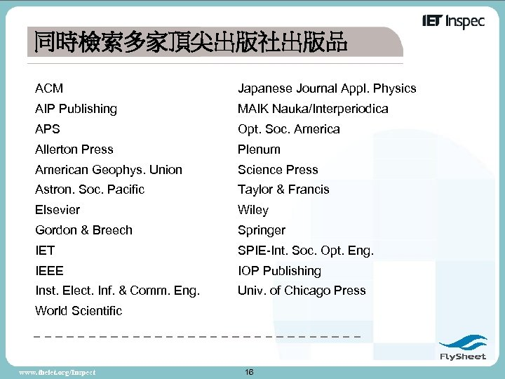 同時檢索多家頂尖出版社出版品 ACM Japanese Journal Appl. Physics AIP Publishing MAIK Nauka/Interperiodica APS Opt. Soc. America