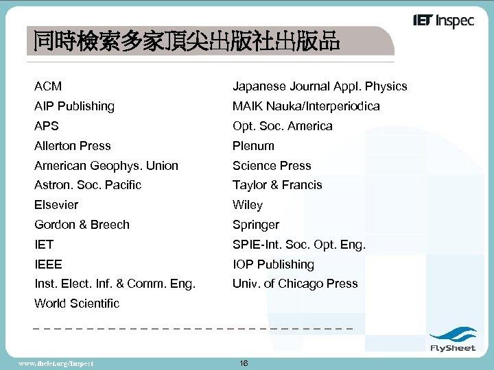 同時檢索多家頂尖出版社出版品 ACM Japanese Journal Appl. Physics AIP Publishing MAIK Nauka/Interperiodica APS Opt. Soc. America