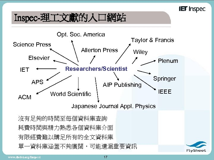 Inspec-理 文獻的入口網站 Opt. Soc. America Science Press Allerton Press Elsevier Taylor & Francis Wiley