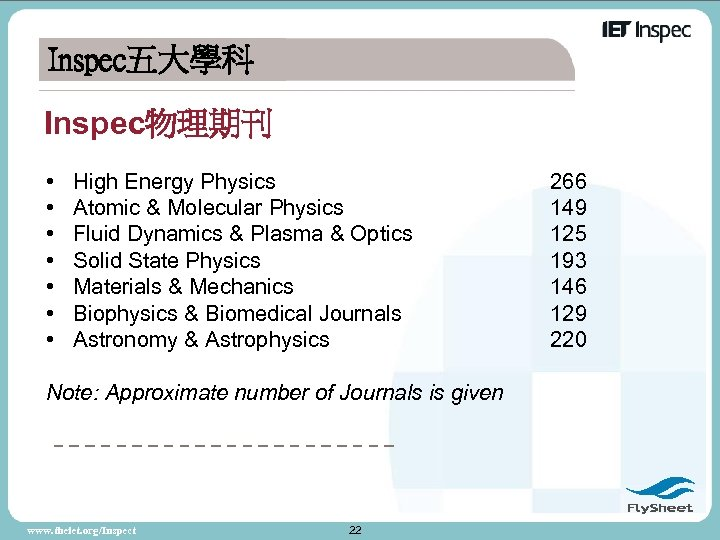 Inspec五大學科 Inspec物理期刊 • • High Energy Physics Atomic & Molecular Physics Fluid Dynamics &