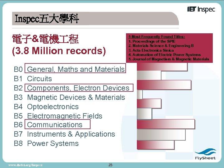 Inspec五大學科 電子&電機 程 (3. 8 Million records) B 0 B 1 B 2 B
