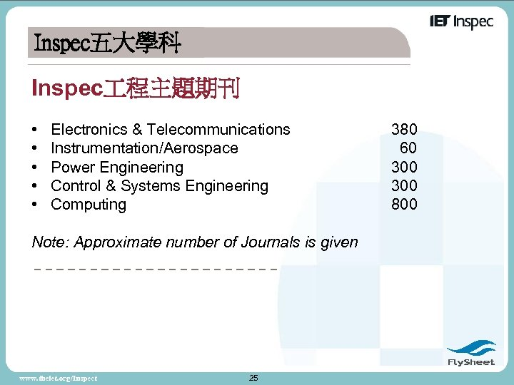 Inspec五大學科 Inspec 程主題期刊 • • • Electronics & Telecommunications Instrumentation/Aerospace Power Engineering Control &