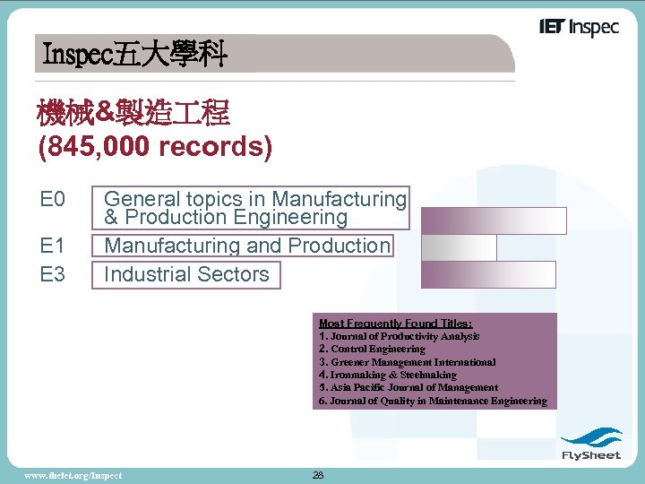 Inspec五大學科 機械&製造 程 (845, 000 records) E 0 E 1 E 3 General topics