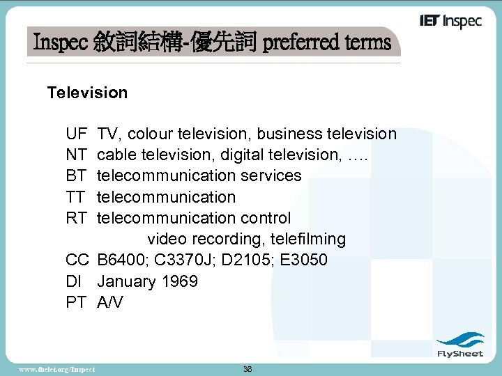 Inspec 敘詞結構-優先詞 preferred terms Television UF NT BT TT RT TV, colour television, business