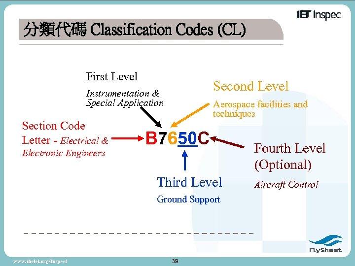分類代碼 Classification Codes (CL) First Level Second Level Instrumentation & Special Application Section Code