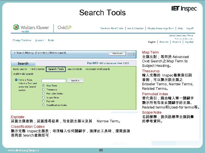 Search Tools Explode 延展主題查詢;延展搜尋結果,包含該主題以及其 Narrow Term。 Classification Codes 顯示完整 Inspec主題表;毋須輸入任何關鍵字,選擇此 具時,僅需挑選 後再按 Search查詢即可 www.