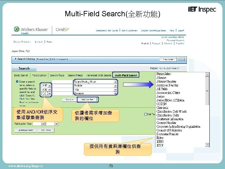 Multi-Field Search(全新功能) 使用 AND/OR依序交 集或聯集查詢 依讀者需求增加查 詢的欄位 提供所有資料庫欄位供查 詢 www. theiet. org/Inspect 73