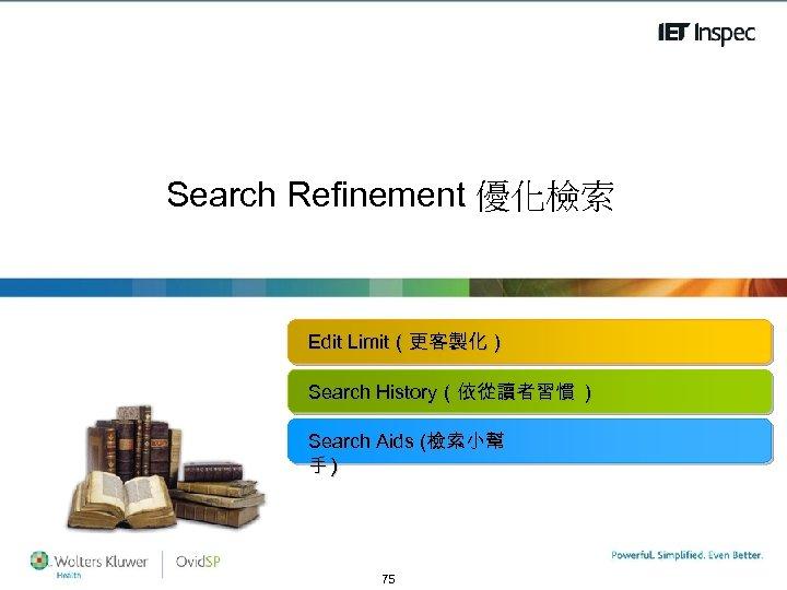 Search Refinement 優化檢索 Edit Limit(更客製化) Search History(依從讀者習慣 ) Search Aids (檢索小幫 手) www. theiet.