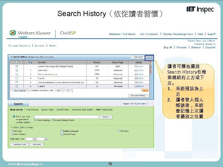 Search History(依從讀者習慣) 讀者可隨地擺放 Search History在檢 索模組的上方或下 方。 1. 系統預設為上 方 2. 讀者登入個人 帳號後,系統 會記憶上次讀