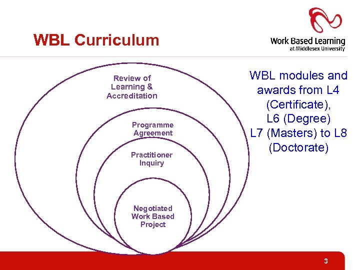 WBL Curriculum Review of Learning & Accreditation Programme Agreement Practitioner Inquiry WBL modules and