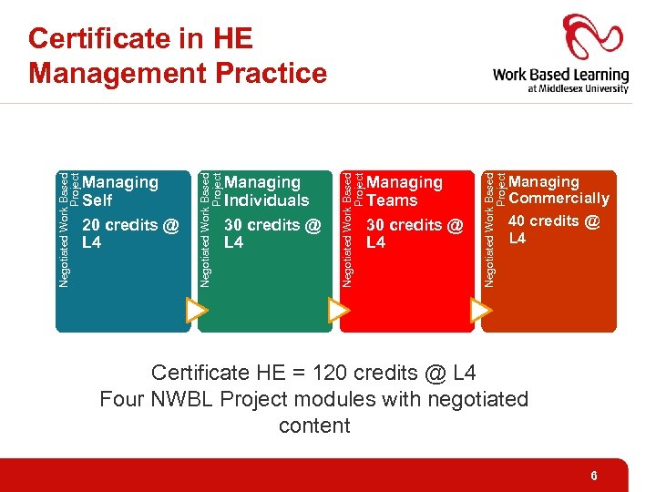 Managing Teams 30 credits @ L 4 Negotiated Work Based Project Managing Individuals 30