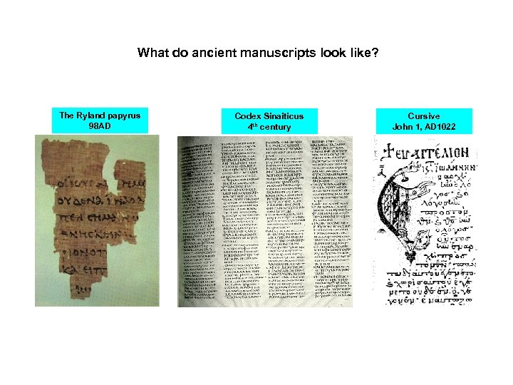What do ancient manuscripts look like? The Ryland papyrus 98 AD Codex Sinaiticus 4