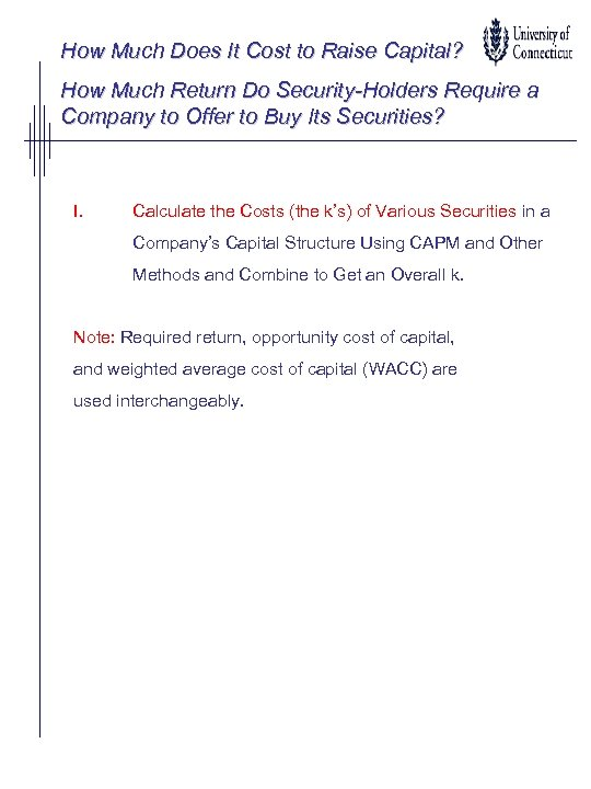 How Much Does It Cost to Raise Capital? How Much Return Do Security-Holders Require