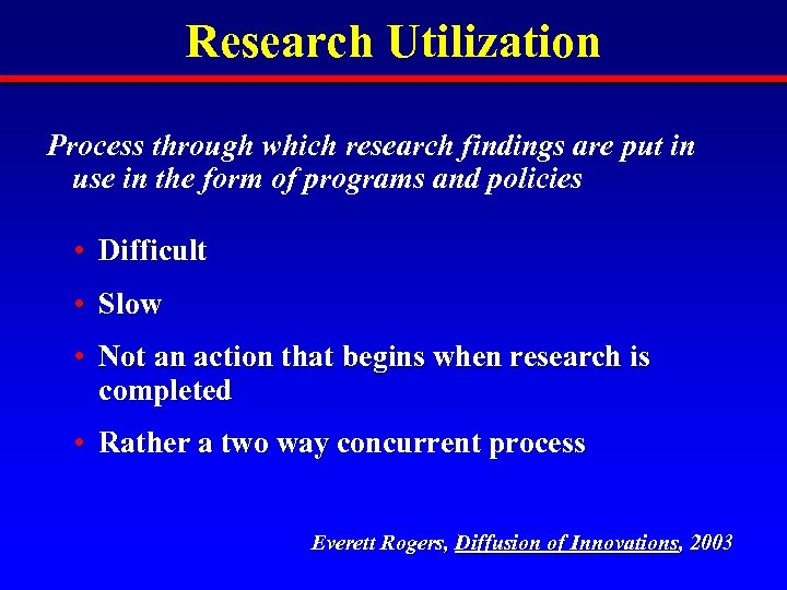 Research Utilization Process through which research findings are put in use in the form