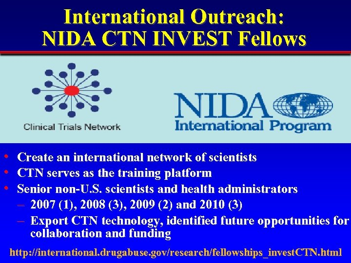 International Outreach: NIDA CTN INVEST Fellows • • • Create an international network of