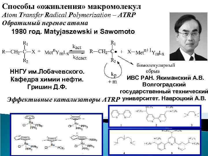 Способы «оживления» макромолекул Atom Transfer Radical Polymerization – ATRP Обратимый перенос атома 1980 год.