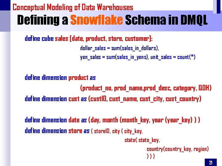 Conceptual Modeling of Data Warehouses Defining a Snowflake Schema in DMQL define cube sales