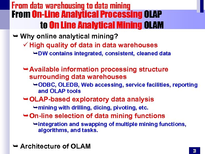 From data warehousing to data mining From On-Line Analytical Processing OLAP to On Line