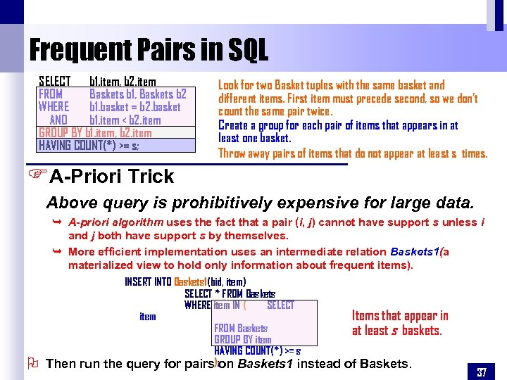 Frequent Pairs in SQL SELECT b 1. item, b 2. item FROM Baskets b
