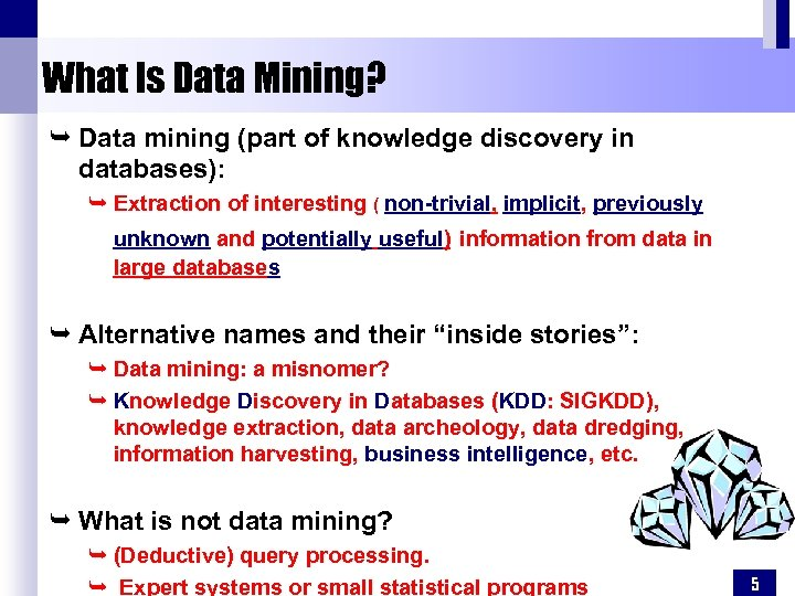 What Is Data Mining? Ê Data mining (part of knowledge discovery in databases): Ê