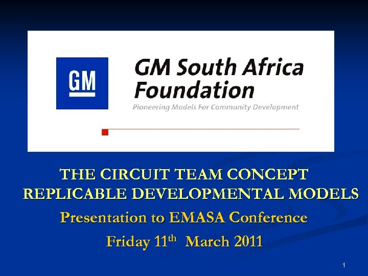 THE CIRCUIT TEAM CONCEPT REPLICABLE DEVELOPMENTAL MODELS Presentation to EMASA Conference Friday 11 th