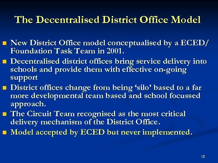 The Decentralised District Office Model n n n New District Office model conceptualised by