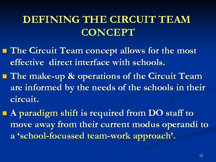 DEFINING THE CIRCUIT TEAM CONCEPT The Circuit Team concept allows for the most effective