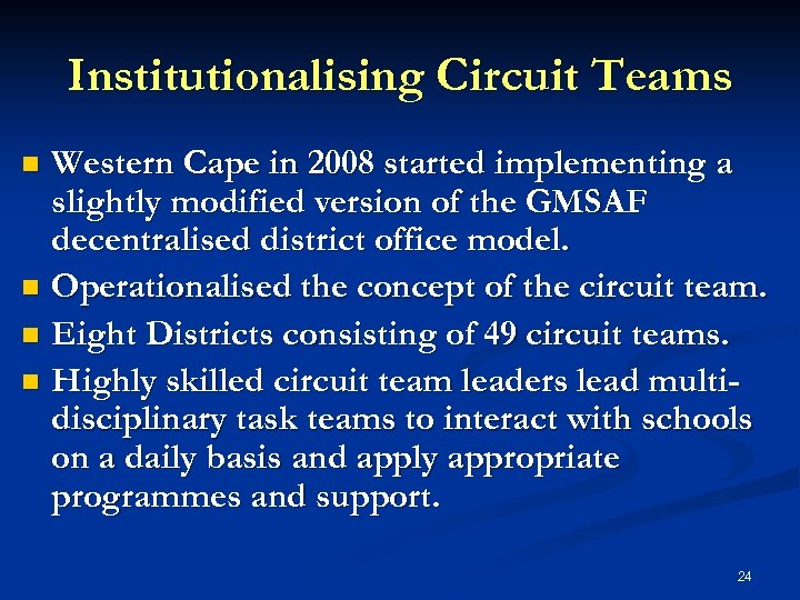 Institutionalising Circuit Teams Western Cape in 2008 started implementing a slightly modified version of
