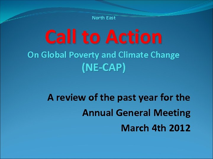 North East Call to Action On Global Poverty and Climate Change (NE-CAP) A review