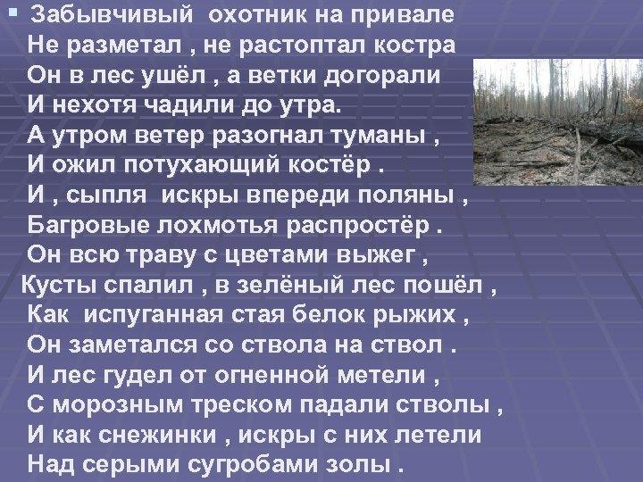 § Забывчивый охотник на привале Не разметал , не растоптал костра Он в лес