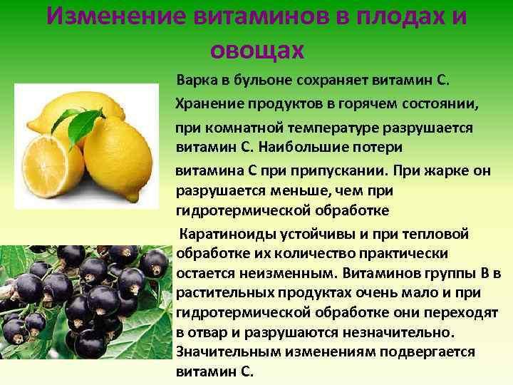 Изменение витаминов в плодах и овощах Варка в бульоне сохраняет витамин С. Хранение продуктов
