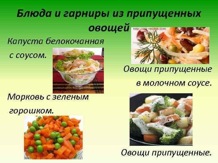 Блюда и гарниры из припущенных овощей Капуста белокочанная с соусом. Овощи припущенные в молочном