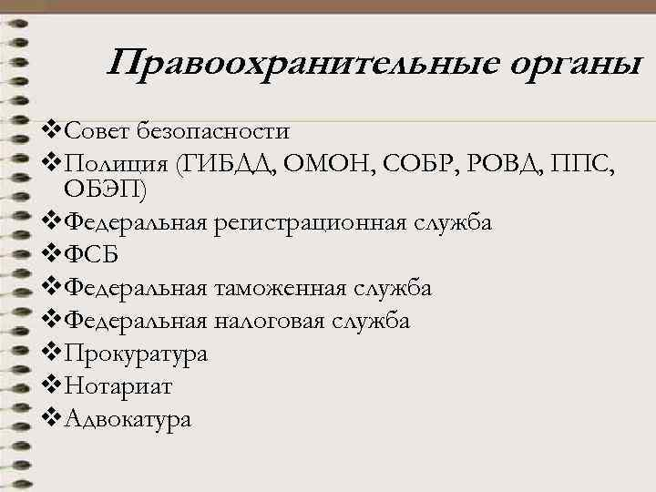 Правоохранительные органы v. Совет безопасности v. Полиция (ГИБДД, ОМОН, СОБР, РОВД, ППС, ОБЭП) v.