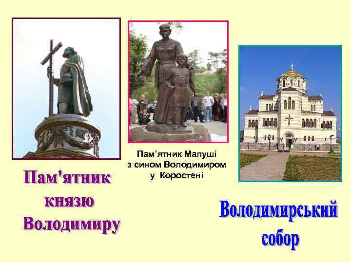 Пам'ятник Малуші з сином Володимиром у Коростені