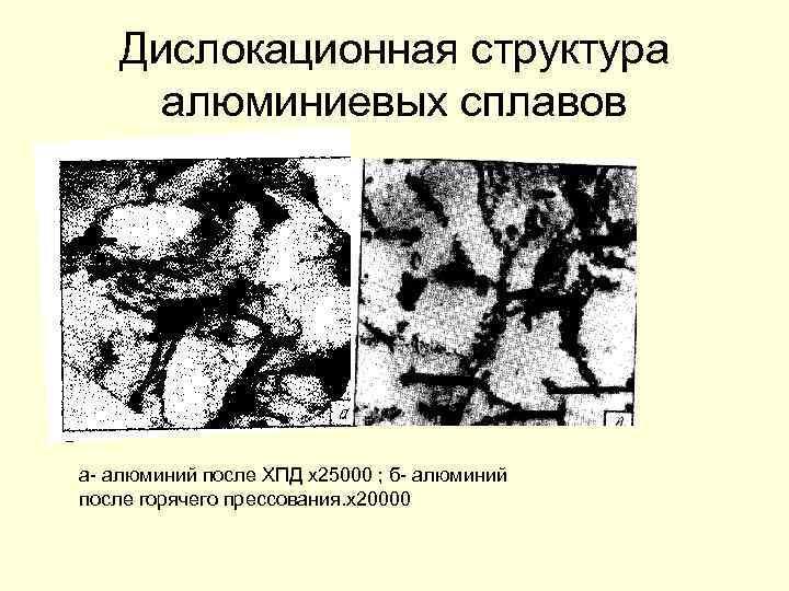 Дислокационная структура алюминиевых сплавов а- алюминий после ХПД х25000 ; б- алюминий после горячего