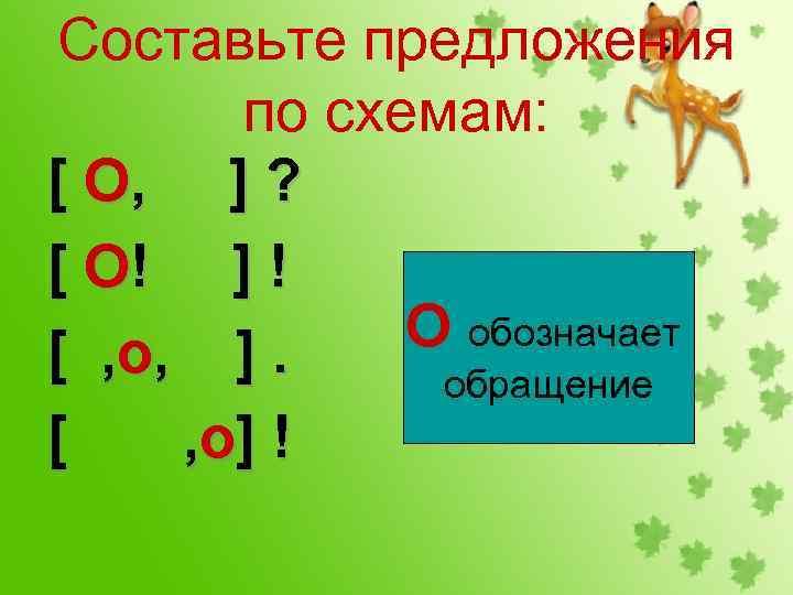 Составьте предложения по схемам: [ О, ] ? [ О! ] ! О обозначает