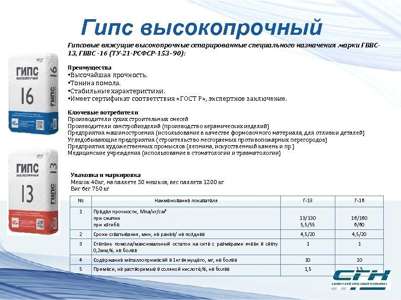 Гипс высокопрочный Гипсовые вяжущие высокопрочные сепарированные специального назначения марки ГВВС 13, ГВВС -16 (ТУ-21