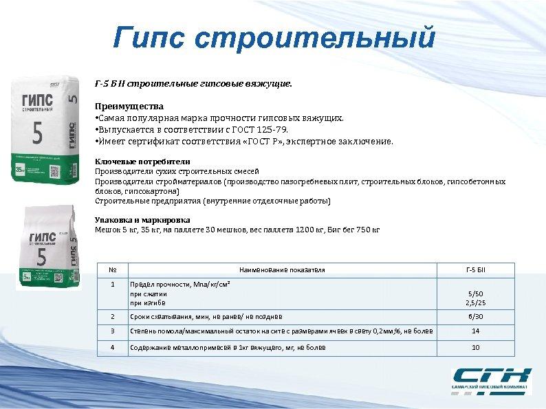 Гипс строительный Г-5 Б II строительные гипсовые вяжущие. Преимущества • Самая популярная марка прочности