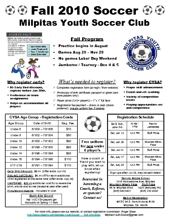 Fall 2010 Soccer Milpitas Youth Soccer Club Fall Program • Practice begins in August