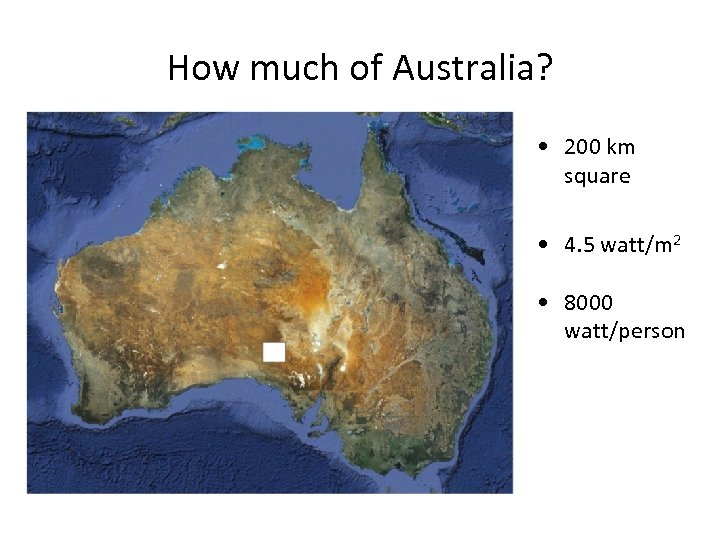 How much of Australia? • 200 km square • 4. 5 watt/m 2 •