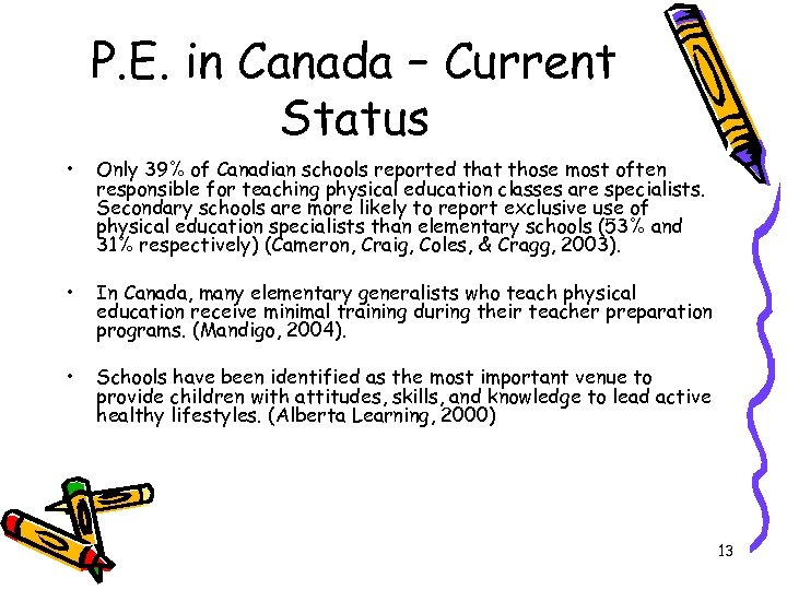 P. E. in Canada – Current Status • Only 39% of Canadian schools reported