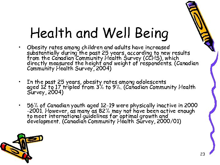 Health and Well Being • Obesity rates among children and adults have increased substantially
