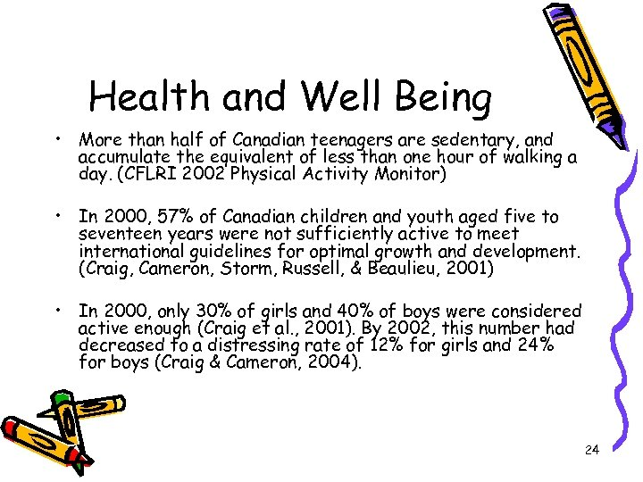 Health and Well Being • More than half of Canadian teenagers are sedentary, and
