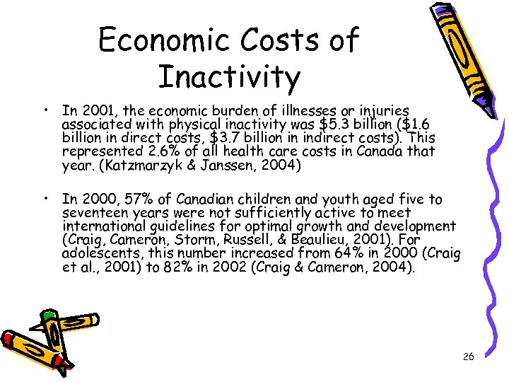 Economic Costs of Inactivity • In 2001, the economic burden of illnesses or injuries