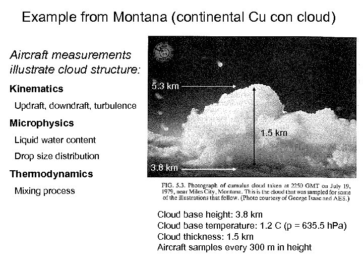 Example from Montana (continental Cu con cloud) Aircraft measurements illustrate cloud structure: Kinematics 5.