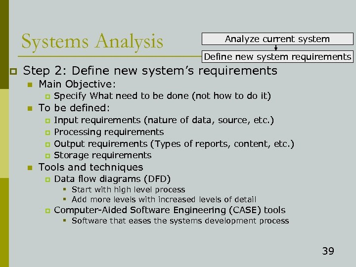 Systems Analysis p Analyze current system Define new system requirements Step 2: Define new